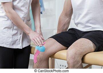 kinesiology, het vastbinden, op, de, knie