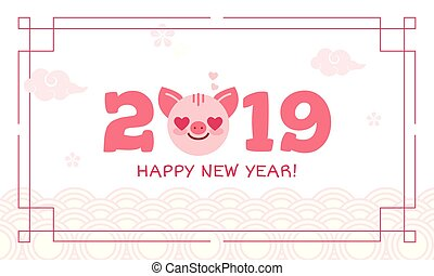 kinesisk, år, japansk, hälsning, dekoration, utsirad, önskan, mönster, 2019, färsk, koreansk, lycklig, elements.postcard, gris, asiater, tecken, stil, underteckna, kort, cirklarna, traditionell, zodiaken