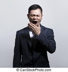 kinesisk, affärsman, yawning.
