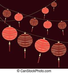 kinesisk, bakgrund, lykta