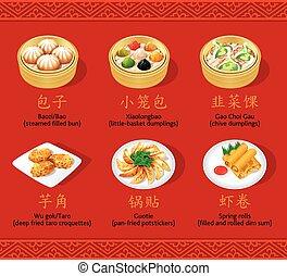 kinesisk, dumplings, sæt, ii
