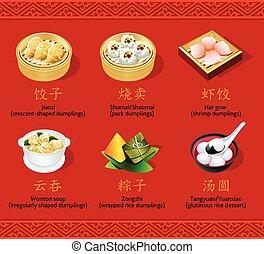 kinesisk, dumplings, sæt, jeg