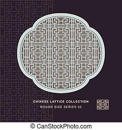 kinesisk, geometri, ram, spiral, tracery, fönster, runda, ...