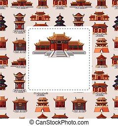 kinesisk, hus, seamless, mönster, tecknad film
