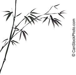 kinesisk, målning, av, bambu