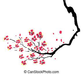 kinesisk, målning, av, plommon