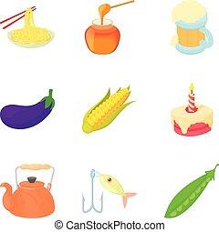 kinesisk mad, iconerne, sæt, cartoon, firmanavnet