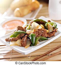 kinesisk mad, -, peber, bøf, hos, restaurant