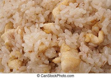 kinesisk, mad., ris, hos, kylling guldklumper
