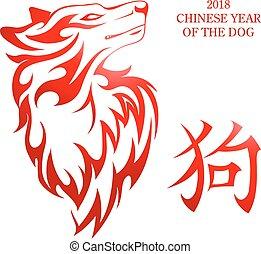 kinesisk, symbol, hund, 2018, år, färsk