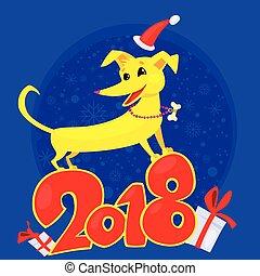 Kinesisk,  Symbol, hund, gul, år,  2018, färsk, zodiaken