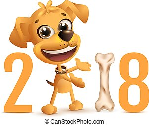 kinesisk, symbol, hund, gul, 2018, år, kalender