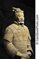 kinesisk, terrakotta, krigare, närbild