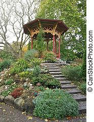 kinesisk, trädgård, gazebo