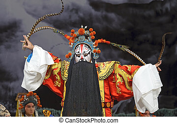 kinesisk, traditionell, opera, skådespelare, med,...