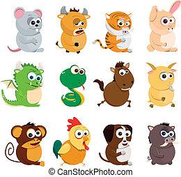 kinesisk, zodiaken, djuren