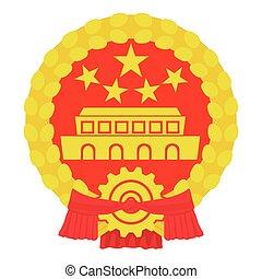kinesiskor peng, ikon, tecknad film, stil