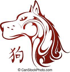 kinesiskt horoskop, symbol, hund, 2018, år, färsk
