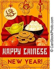 kinesiskt nytt år, vektor, guld peng, hälsningskort