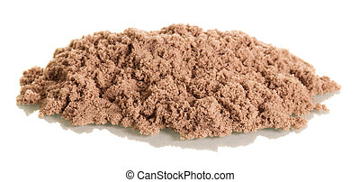 Kinetic sand close-up isolated on white. - Kinetic sand...