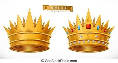 king., 金の王冠, 現実的, ベクトル, 3d, アイコン