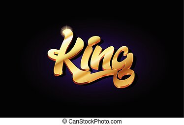 king 3d gold golden text metal logo icon design handwritten typography