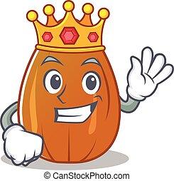 King almond nut character cartoon