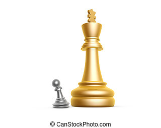 king and pawn - big king and small pawn on white background