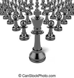 king and pawn. leadership concept isolated on a white...