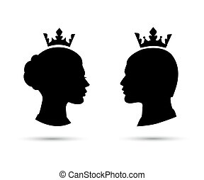 king and queen heads, king and queen face vector silhouette...