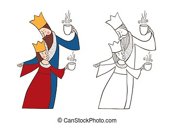 Cartoon King And Queen Love A Cartoon Illustration Of A King And