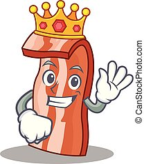 King bacon mascot cartoon style vector illustration