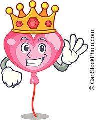 King ballon heart mascot cartoon