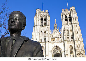 King Baudouin Statue & St. Michael and St. Gudula Cathedral in Brussels, Belgium.