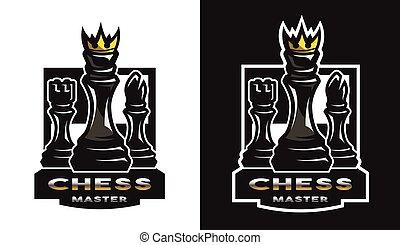 Chess game emblem, logo.