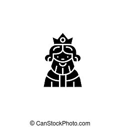 King black icon concept. King flat  vector symbol, sign, illustration.