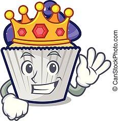 King blueberry cupcake mascot cartoon
