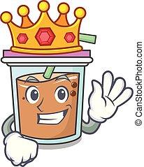 King bubble tea mascot cartoon