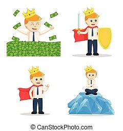 king businessman set illustration design