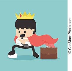 King businessman. Vector flat cartoon illustration