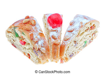 King cake slices close-up on a white background.