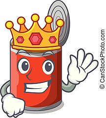 King canned food on the tablecloth cartoon vector...