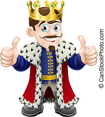 King cartoon - Cartoon illustration of a cute king with ...
