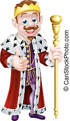 King Cartoon - A king cartoon character wearing a crown,...