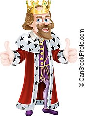 King Cartoon Mascot - Cartoon king wearing a crown and...
