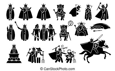 King Characters in Pictogram Set. - Artworks depicts a ...