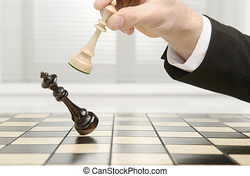 King Checkmate - High key image of a Chess board. Checkmate...