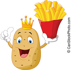 King chef potato holding a french f