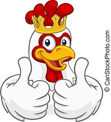 King Chicken Rooster Cockerel Bird Crown Cartoon - A chicken...
