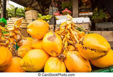 King coconut bunch in fruit shop on sri lanka. Ceylon ...